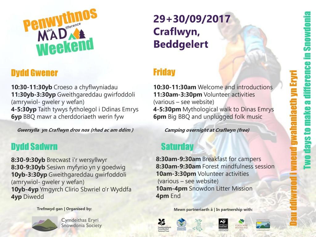 Amserlen - Penwythnos MAD Weekend - Timetable (2)